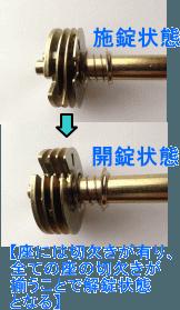 4枚座ダイヤル錠の施錠と開錠状態