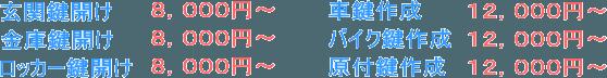 尾道市 鍵トラブル料金表