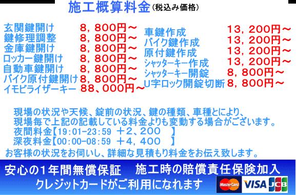 千葉県流山市 鍵開け 鍵トラブル修理施工税込み目安料金税込み